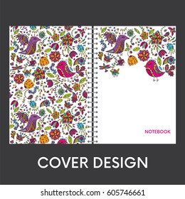 Ready-made cover design for a notebook or notebook. Multicolored birds and insects. Flowers and plants. Anniversary drawing. Vector illustration.