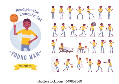 Ready-to-use character set. Black, african american young man wearing t-shirt. Various poses and emotions, running, standing, walking, eating. Full length, front, rear view, isolated, white background