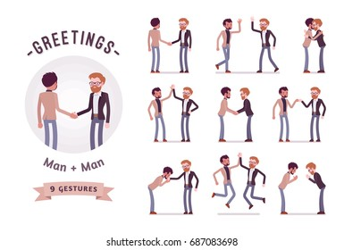 Ready-to-use character set. Businessmen in handshake. Various poses, emotions, greeting, standing, fist bump, giving high five, a bow, a hug. Full length, front, rear view isolated, white background