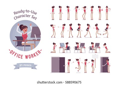 Ready-to-use character set. Female office worker in formal wear. Different poses and emotions, running, standing, sitting, walking, happy, angry. Full length, front, rear, isolated, white background