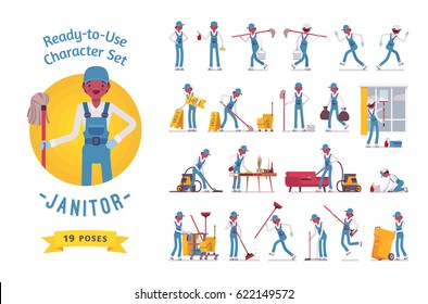 Ready-to-use character set. Male janitor wearing overall. Various poses and emotions, running, standing, sitting, walking, happy, angry. Full length, front, rear view isolated, white background