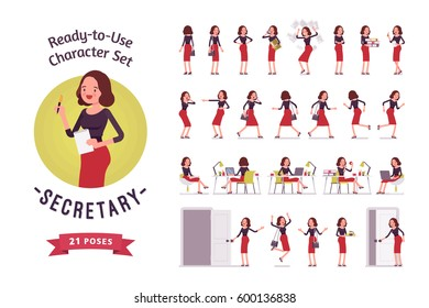 Ready-to-use character set. Secretary in smart casual wear. Different poses and emotions, running, standing, sitting, walking, happy, angry. Full length, front, rear view isolated, white background
