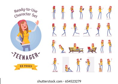 Ready-to-use character set. Teenager girl wearing cute beanie, casual slim fit. Various poses and emotions, running, standing, walking, working. Full length, front, rear view isolated white background