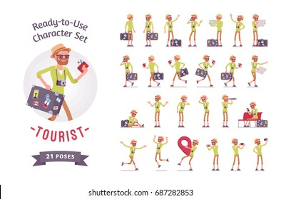 Ready-to-use character set. Tourist man with luggage. Various poses, emotions, running, standing, walking, waiting, map reading. Full length, front, rear view isolated, white background