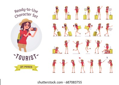 Ready-to-use character set. Tourist woman with luggage. Various poses, emotions, running, standing, walking, waiting, map reading. Full length, front, rear view isolated, white background