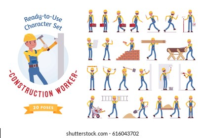 Ready-to-use character set. Young male worker in blue overall, Various poses and emotions, running, standing, walking, working. Full length, front, rear view isolated, white background