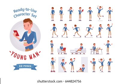 Ready-to-use character set. Young man, trendy haircut, beige chino shorts. Various poses and emotions, running, standing, walking, working. Full length, front, rear view isolated, white background