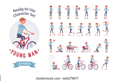 Ready-to-use character set. Young trendy man wearing leisure summer fit. Various poses, emotions, running, standing, walking, working, cycling. Full length, front, rear view isolated, white background