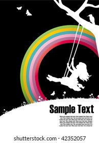 ready-to-use  placard with rainbow and silhouette of a girl sitting on a swing , just add your text below and use as placards or invitations to advertise your action!