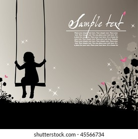 ready-to-use placard with silhouette of a girl sitting on a swing, flowers and colored butterflies , just add your text  and use as placards or invitations to advertise your action!