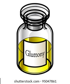 A reagent bottle of Gluttony. Concept: Seven Deadly Sins. Collect the whole set!