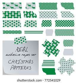 Real adhesive tapes set. Christmas patterns - deers stars, trees etc. Green, silver. Use as decorations on cards, letter, banner etc. Vector eps 10.