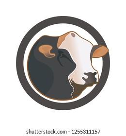 Real cow head design vector eps format