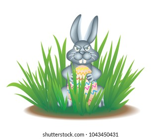 The real Easter Bunny in the grass holds a painted egg. Vector illustration EPS-8.