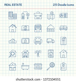 Real Estate 25 Doodle Icons. Hand Drawn Business Icon set
