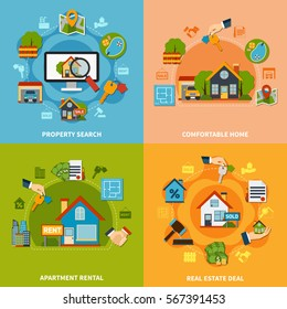 Real estate 2x2 design concept with property search and apartment rental icons on colorful backgrounds flat isolated vector illustration