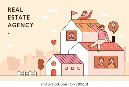 Real estate agency advertising. People are greeting around the house. flat design style minimal vector illustration.