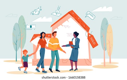 Real estate agency banner template with family and realtor make agreement about property purchasing at sold house background. Property sale and investments to housing. Flat vector illustration.