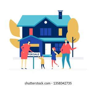 Real estate agency - colorful flat design style illustration on white background. Bright composition with a family, parents and children standing in front of a nice cottage house with for sale sign