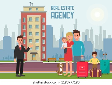 Real Estate Agency Concept. Family Buys Apartment. Housewarming in New Home. Estate Agent and New Property. Family Building Background. Broker Services. Vector Flat Illustration.