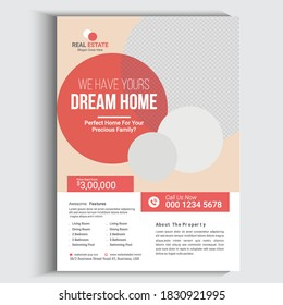 Real Estate Agency Flyer Template Design, corporate Business flyer template vector design, Flyer Template Circel shape used for business poster Graphic design layout with illustration,