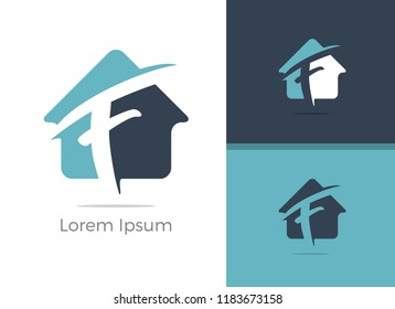 Real Estate agency letter F logo design, F letter in home vector icon.