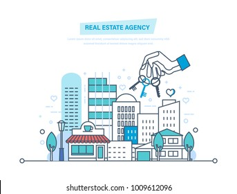 Real estate agency. Sale and rent of commercial, private real estate. Working, business deals, contract. Business property investment. Buying, selling houses. Illustration thin line design.