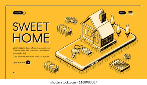 Real estate agency service vector illustration in isometric thin line on yellow halftone background. Sweet home web banner design of house and mobile phone with money for online buy or rent