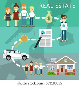 Real estate agency website template with process of home buying vector illustration. Commercial background. Family buying dream home. Contract for property. Real estate agent and happy family.