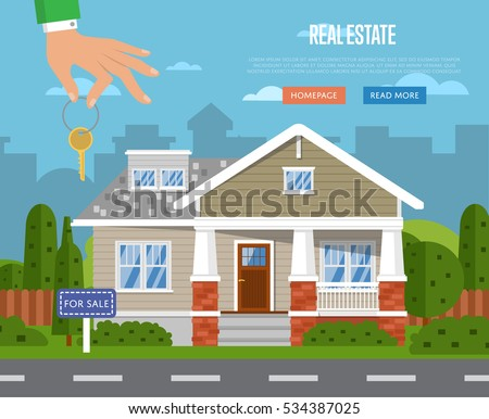 Real Estate Agency Website Template Sale Stock Vector Royalty Free