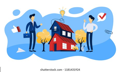 Real estate agent or broker concept. Big house sale offering. Isolated flat vector illustration