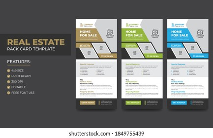 Real Estate Agent and Construction Business Rack card or Dl flyer template Vector. Creative Real estate rack card. With modern elements.