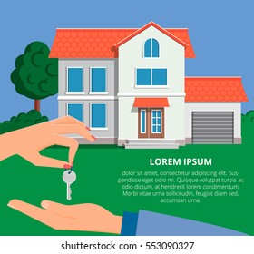 Real estate agent giving a home key to a buyer. Buying a new house. Vector illustration in modern flat style for web banners and info graphic.
