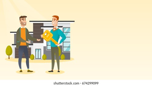 Real estate agent giving key to a new owner of a house. Real estate agent passing house key to a cheerful client. Happy man buying a new house. Vector flat design illustration. Horizontal layout.
