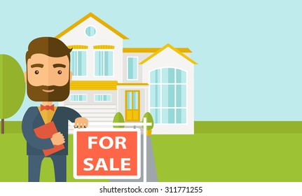 A real estate agent holding the document for the for sale house. Vector flat design illustration. Horizontal layout with text space in right side.
