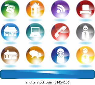 Real Estate Agent Icon Set : Group of real estate agent themed buttons such as house, people, email, phone and more.