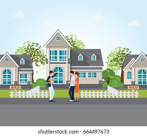 Real estate agent showing new house to couple, real estate conceptual vector illustration.