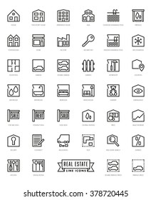 Real Estate Agent Square Line Icons Set. 40 realty themed symbols collection.