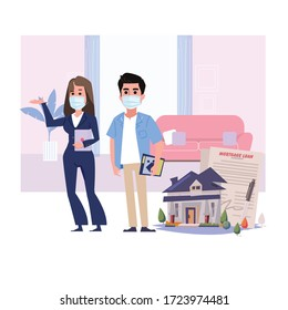 Real Estate agent woman with clients wearing mask - vector illustration