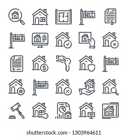 Real Estate bold line icon set. Home and apartment linear icons. Commercial property related outline vector sign collection.