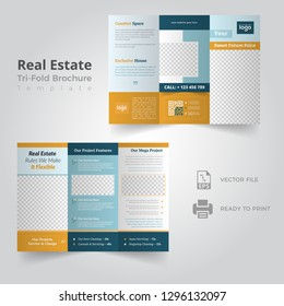 Real Estate Brochure Flyer design vector template in A4 size Tri fold - Vector