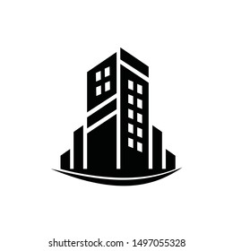 Real estate building house design hand drawn logo template