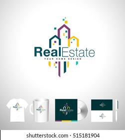 Real Estate Building Logo. Creative Real Estate Icon. Vector Skyscraper Estate Logo