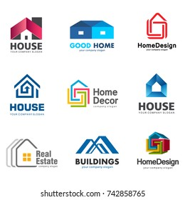 Real Estate and Building logo set. Vector house logo template