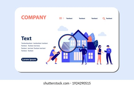 Real estate business concept, choosing and finding a home. Vector illustration isolated white background. flat style web banner, mobile website, Landing Page Template.
