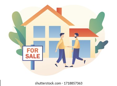 Real estate business concept with houses. House for sale. Tiny real estate agent or broker shaking hands with people buying house. Modern flat cartoon style. Vector illustration on white background