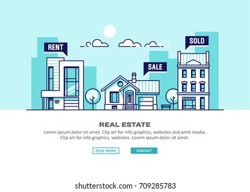 Real estate business concept with houses. Vector illustration.