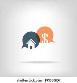 Real estate business concept with speech bubbles. Eps10 vector illustration.