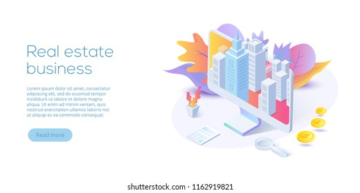 Real estate business isometric vector illustration. House searching app concept. Online buying, renting, selling property website layout.