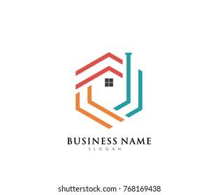 Real Estate Business Logo Template / Abstract Buildings Logo / Creative House Logo